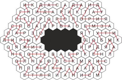 Шестиугольный филворд - ответ